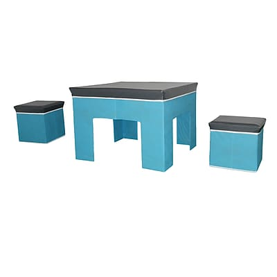 Bintopia 3 Piece Juvenile Storage & Play Set, Gray Top & White Trim & Blue Base (88822)