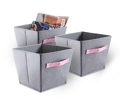 Bintopia 3 Pack Felt Storage Bins, Gray & Pink Handles (88823)