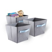 Bintopia 3 Pack Felt Storage Bins, Gray & Blue & Handles (88824)