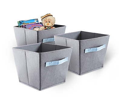 Bintopia 3 Pack Felt Storage Bins, Gray & Blue & Handles (88824)