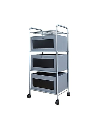 Bintopia 3 Drawer Chalk Cart with Gray/Black Chalk Board Front, Metal Frame (88825)