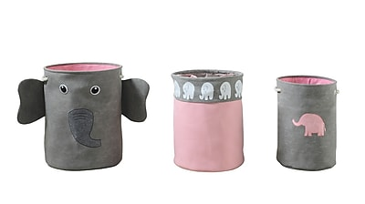 Bintopia 3 Piece Elephant Storage Hamper, Gray & Pink (88826)