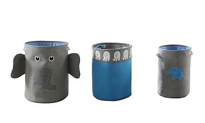 Bintopia 3 Piece Elephant Storage Hamper, Gray & Blue (88827)