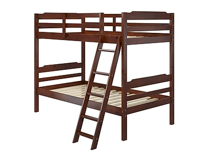 Manhattan Comfort Hayden Solid Pine Wood Twin Size Bunk Bed, Brown (A354)