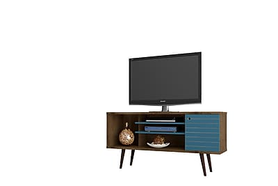 "Manhattan Comfort Liberty 53.14"" Mid Century - Modern TV Stand, Rustic Brown and Aqua Blue (200AMC93)"