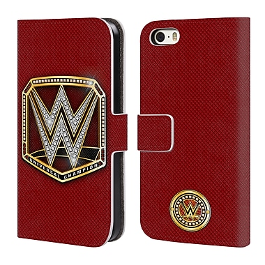 Official WWE Title Belts Universal Champion Leather Book Wallet Case Cover For Apple Iphone 5 / 5S / Se (D_D_1E3F3)