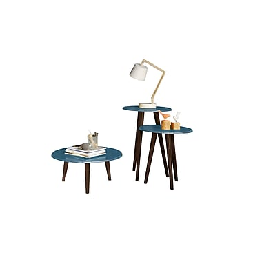 Manhattan Comfort Carmine End Tables, Aqua Blue (206AMC94)