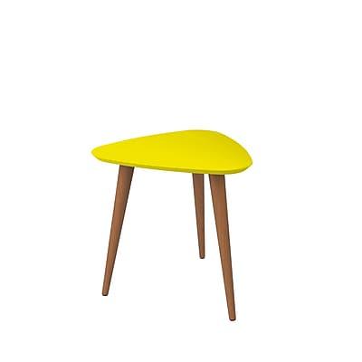"Manhattan Comfort Utopia 19.68"" Triangle End Table, Yellow (89853)"
