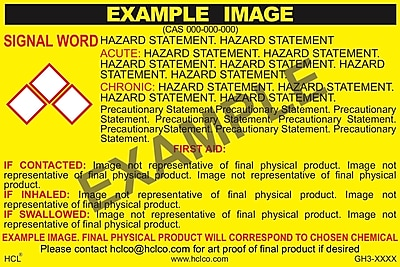 "HCL Neon GHS Chemical Label, 2"" x 3"", Adhesive Vinyl, Yellow/Black, 25 Pack (GH3X1950023)"