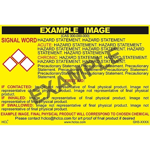 """HCL Used Oil For Recycling GHS Chemical Label, 4"""" x 7"""", Adhesive Vinyl, Yellow/Black, 25 Pack (GH319130047)"""