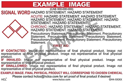 "HCL .05% Acetonitrile In Water GHS Chemical Label, 4"" x 7"", Adhesive Vinyl, White/Red, 25 Pack (GH406930047)"