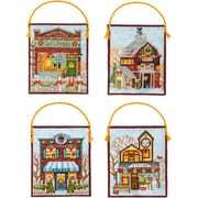 Dimensions Set Of 4 Winter Village Ornaments Counted Cross Stitch Kit, 16 Count (70-08954)