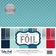 "Echo Park Paper Winter Dot/Stripe Combo W/Silver Foil Double-Sided Collection Pack, 12"" x 12"", 24/Pkg (DSF17077)"