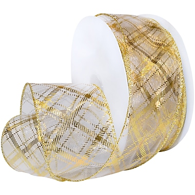 Morex Corp Gold/White Sheer Plaid Wired Ribbon, 2.5