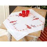 "Vervaco 32"" x 32"" Christmas Elves Tablecloth Stamped Cross Stitch Kit (V0150474)"