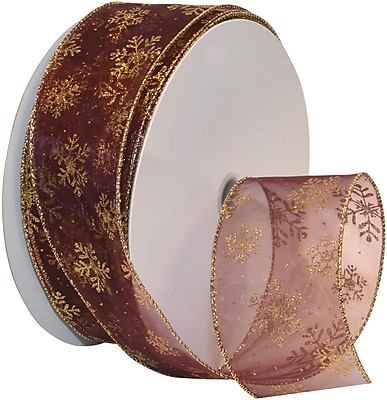 Morex Corp Burgundy/Gold Snowflake Wired Ribbon, 2.5