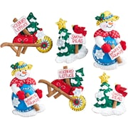 "Bucilla  Set Of 6 Snow Garden Ornaments Felt Applique Kit, 4"" x 5"" (86558)"