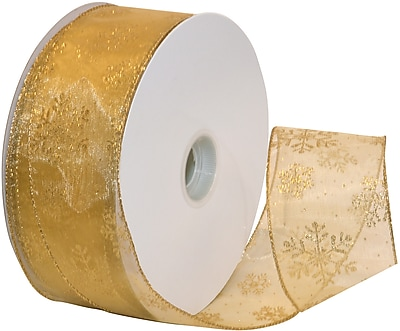 Morex Corp Gold/Gold Snowflake Wired Ribbon, 2.5