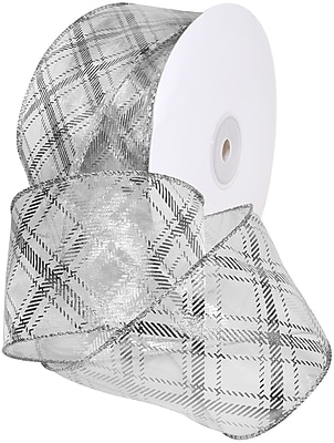 Morex Corp Silver/White Sheer Plaid Wired Ribbon, 2.5