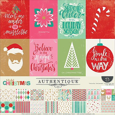 Authentique Paper Colorful Christmas Collection Kit, 12
