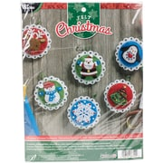 "Bucilla Set 0f 6 Christmas Whimsy Ornaments Felt Applique Kit, 4"" x 4"" (86722)"