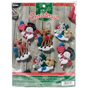 "Bucilla Set Of 6 Santa Stop Here Ornaments Felt Applique Kit, 5"" x 5"" (86723)"