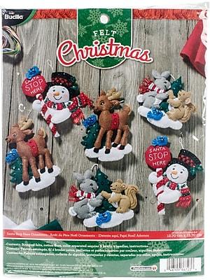 Bucilla Set Of 6 Santa Stop Here Ornaments Felt Applique Kit, 5