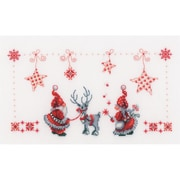 "Vervaco 11"" x 6.75"" 14 Count Christmas Elves On Aida Counted Cross Stitch Kit (V0154476)"