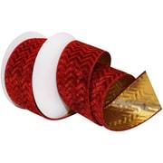 "Morex Corp Burgundy Gilded Velvet Wired Ribbon, 2.5"" x 10 yd (7611)"
