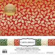 """Echo Park Paper Holly & Berries W/Gold Foil, 3 Des/2 Ea Carta Bella Collection Kit, 12"""" x 12"""", 6/Pkg (CBFHB004)"""