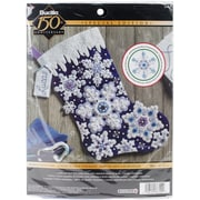 "Bucilla 18"" Long Sparkle Snowflake Stocking Felt Applique Kit (86709)"