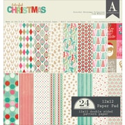 "Authentique Paper Colorful Christmas Double-Sided Cardstock Pad, 12"" x 12"", 24/Pkg (COL012)"