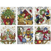 "Tobin Set Of 6 Home For Christmas Ornaments Counted Cross Stitch Kit, 3.5"" x 4"", 14 Count  (DW1697)"