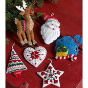"Bucilla Set Of 6 Nordic Santa Ornaments Felt Applique Kit,  3.5"" x 4.5"" (86666)"