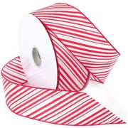 "Morex Corp Red/White Peppermint Wired Ribbon, 2.5"" x 50 yd (741060)"