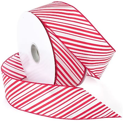 Morex Corp Red/White Peppermint Wired Ribbon, 2.5