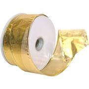 "Morex Corp Gold Gleam Wired Ribbon, 2.5"" x 50 yd (7417-634)"