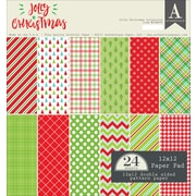 "Authentique Paper Jolly Christmas Double-Sided Cardstock Pad, 12"" x 12"", 24/Pkg (JCM009)"