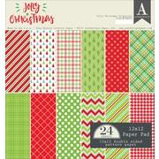 "Authentique Paper Jolly Christmas Double-Sided Cardstock Pad, 12"" x 12"", 24/Pkg (JCM009)"