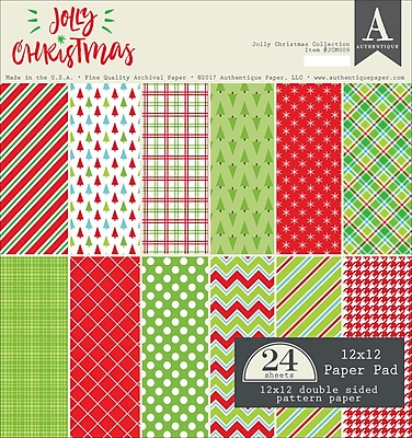 Authentique Paper Jolly Christmas Double-Sided Cardstock Pad, 12