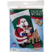 "Tobin 18"" Long Santa & Deer Stocking Felt Applique Kit (DW5238)"
