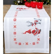 "Vervaco Christmas Elves Table Runner Stamped Cross Stitch Kit, 16"" x 40"" (V0150617)"