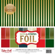 """Echo Park Paper Christmas Dot/Stripe Combo W/Gold Foil Double-Sided Collection Pack, 12"""" x 12"""", 24/Pkg (DSF17057)"""