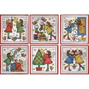 "Tobin, 4"" x 4"" 14 Count Set Of 6 Decorating Angels Ornaments Counted Cross Stitch Kit (DW1699)"