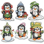 "Tobin 3.5"" 14 Count Set Of 6 Penguins On Ice Ornaments Counted Cross Stitch Kit (DW2286)"