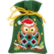 "Vervaco Set Of 3 Christmas Owls Bags On Aida Counted Cross Stitch Kit, 3.25"" x 4.75"", 18 Count (V0155943)"