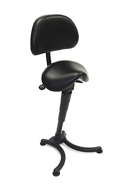 ShopSol Sit-Stand Office Chair with Backrest, Black (1010378)