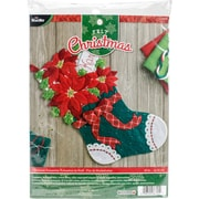 "Bucilla 18"" Long Christmas Poinsettia Stocking Felt Applique Kit (86705)"