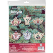 "Janlynn 3"" 14 Count Set Of 6 Christmas Teapot Ornaments Counted Cross Stitch Kit (21-1486)"