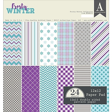 Authentique Paper Frosty Winter Double-Sided Cardstock Pad, 12